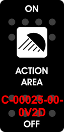 """ACTION AREA""  Black Switch Cap single White Lens  (ON)-OFF"